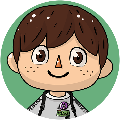 An illustration of Crossing Channel's face; he has brown hair, brown eyes, and a big smile.